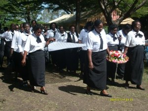 A procession opened the service